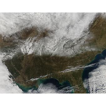 Snow cover stretching from northeastern Texas to the Carolinas Poster Print