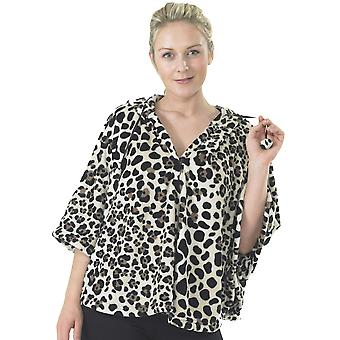 Ladies Hooded Fleece Animal Print Poncho Style Bed Jacket Nightwear Loungewear