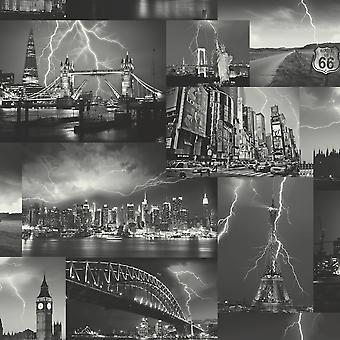 Byen tapet Skyline Paris London New York Storm Collage sort hvid Holden