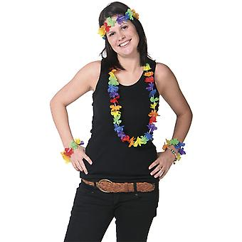 Hawaii set 4 pieces Flower necklace bracelets headband Hula Hawaii party