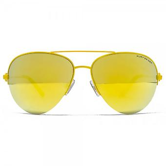 Kurt Geiger Grace Semi Rimless Aviator Sunglasses In Yellow Mirror