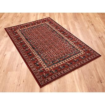 Kashqai 4301-300 Russet and green with horses going around the border. Rectangle Rugs Traditional Rugs