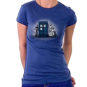 BankCy Doctor Who Tardis Cybermen Street Art Women's T-Shirt