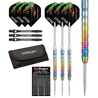 Red Dragon Peter Wright Snakebite 1 Tungsten Steel Darts with Flights, Shafts, Wallet & Red Dragon Checkout Card