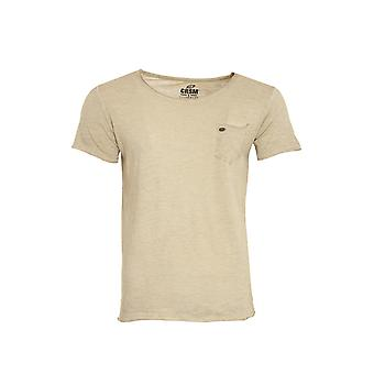 CARISMA Roundneck shirt mens T-Shirt beige with chest pocket