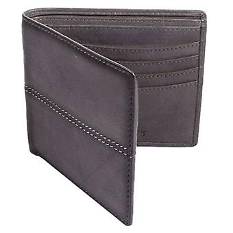 Dents Casual Leather Stiched Bifold Wallet - Slate Grey