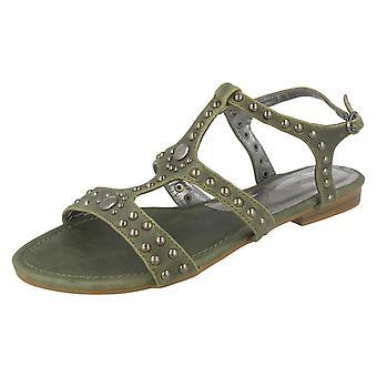 Ladie plats på öppen tå spänne sandaler
