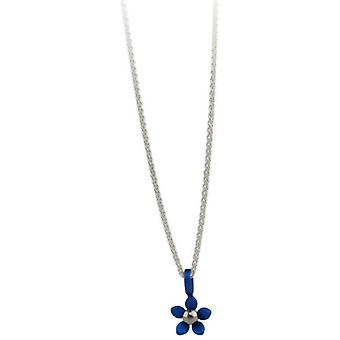 Ti2 Titanium Small Five Petal Flower Pendant - Navy Blue