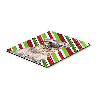 Candy Cane Holiday Christmas Schnauzer Mouse Pad, Hot Pad or Trivet