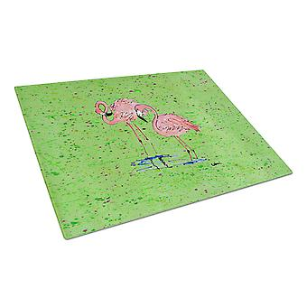 Carolines Treasures  8567LCB Pink Flamingos on Green Speckle Glass Cutting Board