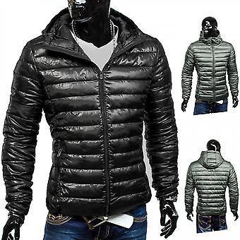 Men's Quilted Jacket tight mobility jacket black hooded transitional jacket