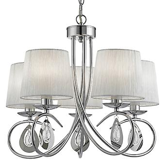 Angelique Chrome Five Light Ceiling Light With Shades - Searchlight 1025-5cc