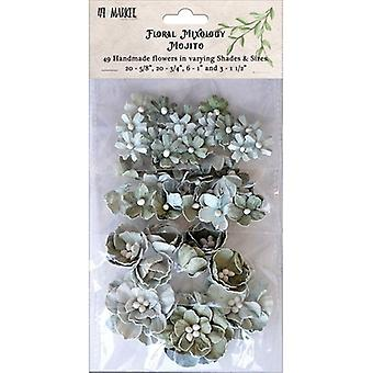 Floral Mixology Paper Flowers Assorted Sizes 49/Pkg-Mojito 49FM-85731