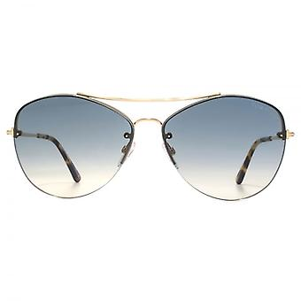 Tom Ford Margret 02 Sunglasses In Shiny Rose Gold Gradient Blue