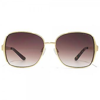 Kurt Geiger Catherine Enamel Metal Square Sunglasses In Shiny Gold Black