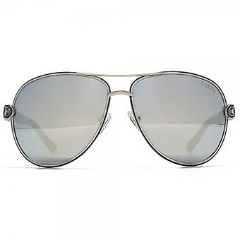 Guess Chain Temple Pilot Sunglasses In Shiny Light Nickeltin