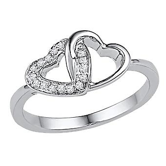 Twin Heart Promise Ring in 10K White Gold with Diamonds 1/12 Carat (ctw Color J-K Clarity I2-I3)