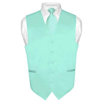 Men's Dress Vest & NeckTie Solid Neck Tie Set for Suit or Tux