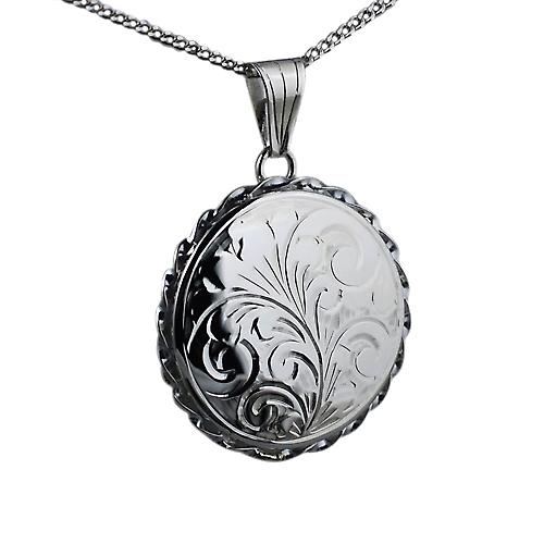 Silver 25mm engraved twisted wire edge flat round Locket with a curb Chain 20 inches