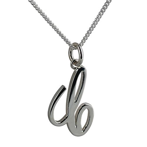 Silver 22x14mm plain Palace script Initial C Pendant with a curb Chain 22 inches