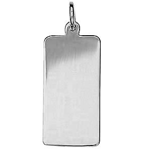 Silver 26x13mm plain rectangular Disc
