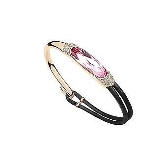 Leather and Swarovski Elements Rose Crystal bracelet