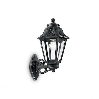 Ideal Lux Anna Black Resin Traditional Porch 6 Sided Wall Lantern