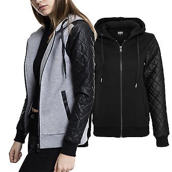 Urban classics ladies - diamond fleece faux leather Zip Hoody