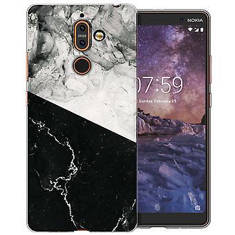 Nokia 7 Plus schwarz weißem Marmor schneiden TPU Gel Fall