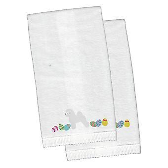 Dwuchromian Obszukać Wielkanoc biały haftowany pluszowe Hand ręcznik zestaw 2
