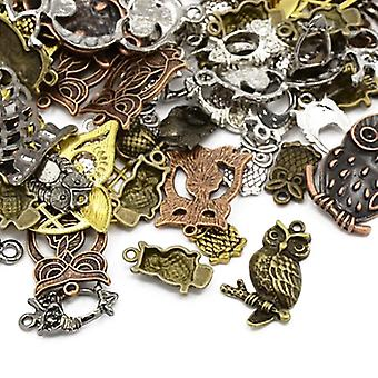 Packet 30 Grams Multicolour Tibetan 5-40mm Owl Charm/Pendant Mix HA07455