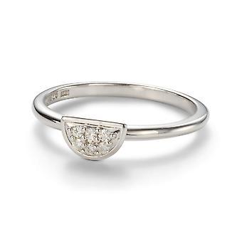 Altijd klassieke 1.4mm Moissanite Halve Maen Pave Ring
