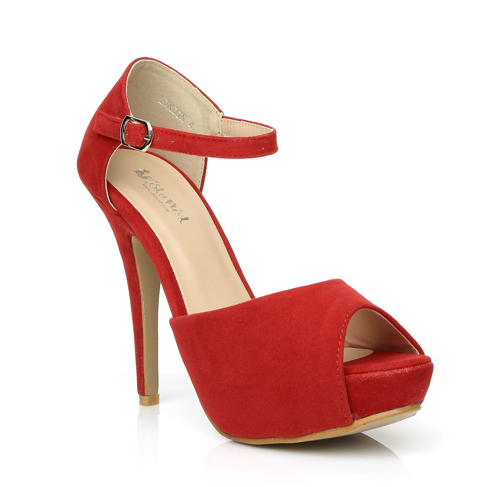 LONDON Red Faux Suede Ankle Strap Platform Peep Toe High Heels