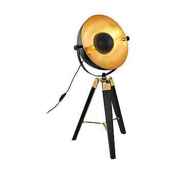 Lámpara de mesa trípode de madera negra con cúpula de hoja de oro y latón de Eglo