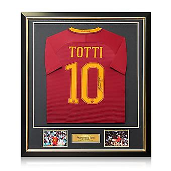 Francesco Totti Signed AS Roma 2016-17 Home Shirt: The Final Season In Deluxe Black Frame With Gold Inlay