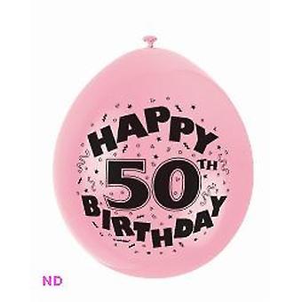 "Balloons 'HAPPY 50th BIRTHDAY' 9"" Latex Balloons (10)"