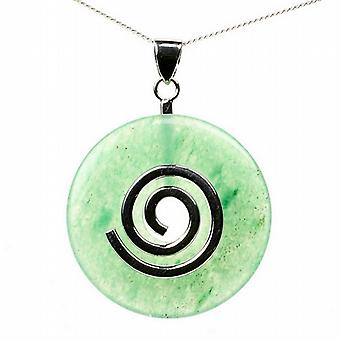 Aventurine Healing Crystal Donut with Silver Chain