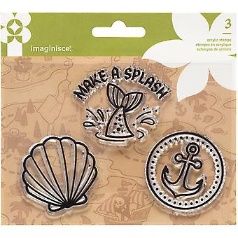 Par-r-rty Me Hearty Acrylic Stamps 3/Pkg-Mermaid