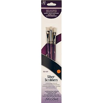 Silver Scrubber Stiff Synthetic Brush Set 3/Pkg-Angle, Dome & Oval