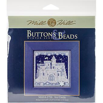 Ice Castle Buttons & Beads Counted Cross Stitch Kit-5.25