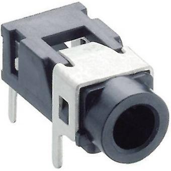 3.5 mm audio jack Socket, horizontal mount Number of pins: 3 Stereo Black Lumberg 1503 08 1 pc(s)
