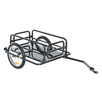 HOMCOM Folding Bike Trailer Cargo in Steel Frame, Extra Bicycle Storage Carrier with Hitch (Black)