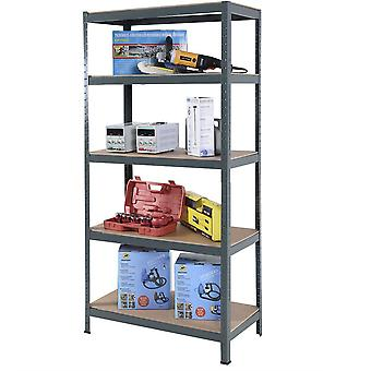 Heavy Duty Steel & MDF 5 Tier Racking in Grey