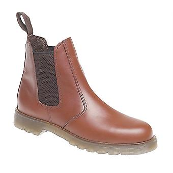 Mens Leather Twin Gusset Slip On Dealer Chelsea Ankle Boots Shoes