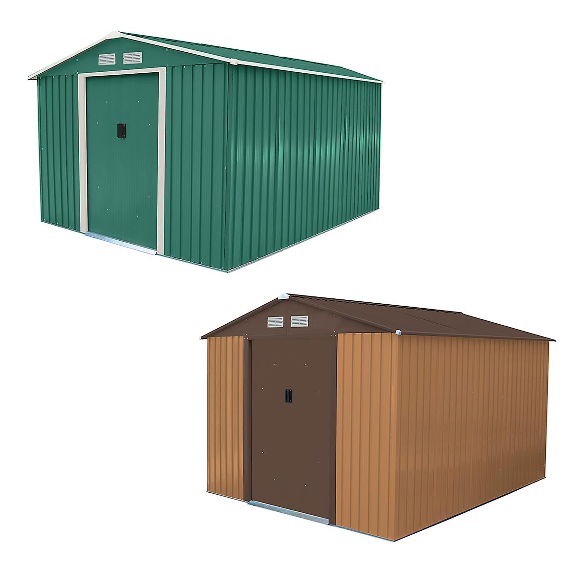 Charles Bentley Metal Garden Shed Outdoor Storage Zinc Frame - Weatherproof in Brown / Green - 8X10Ft
