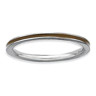 Argent sterling poli rhodié empilable Expressions brun émaillé 1,5 mm bague - bague taille: 5 à 10