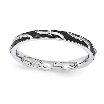 2.5mm Sterling Zilver gepolijst gedessineerde Rhodium-plated stapelbare expressies zwart emaille Ring - Ringmaat: 5 tot en met 10