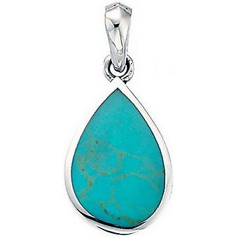 Beginnings Synthetic Turquoise Teardrop Pendant - Turquoise/Silver