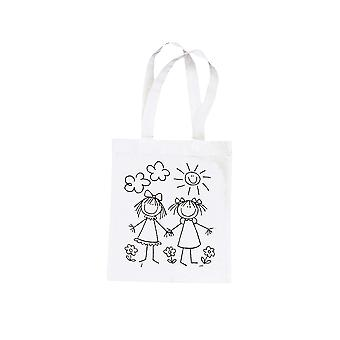 Best Friends Girl Print Fabric Bag to Paint   Fabric Painting Supplies