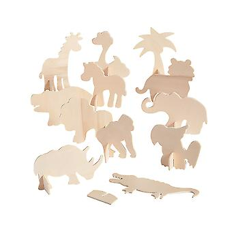 12 Unfinished Wooden Safari Stand-Up Shapes to Decorate